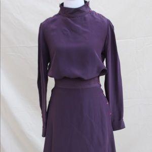 Vintage Women's 80s Plum Silk Blouse and Skirt Set